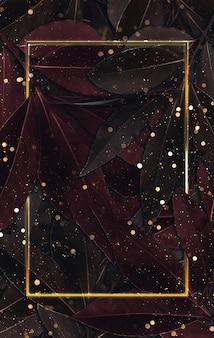 Лист фон золотая рамка и капли боке 3d иллюстрации