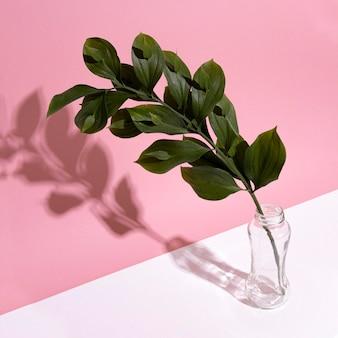 Leaf branch in vase on table