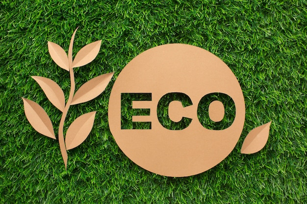 Leaf and ecology sign on grass