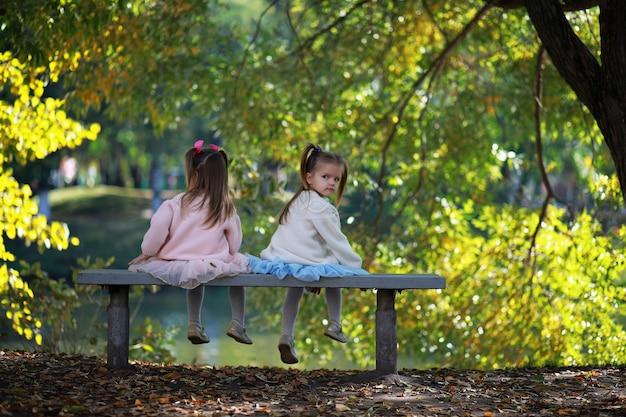 공원에서 잎이을. 가을 공원에서 산책하는 아이들. 가족. 떨어지다. 행복.
