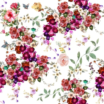 Leaf and flowers watercolor seamless pattern