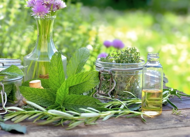 유리 항아리에 허브와 정원에서 나무 테이블에 배열 된 병에 기름과 민트 잎