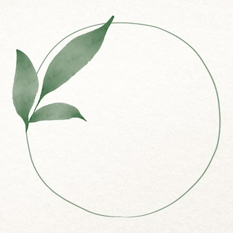 Лист круглая рамка в акварель зеленый