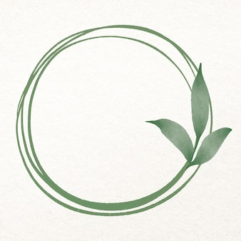 Leaf round frame in watercolor green