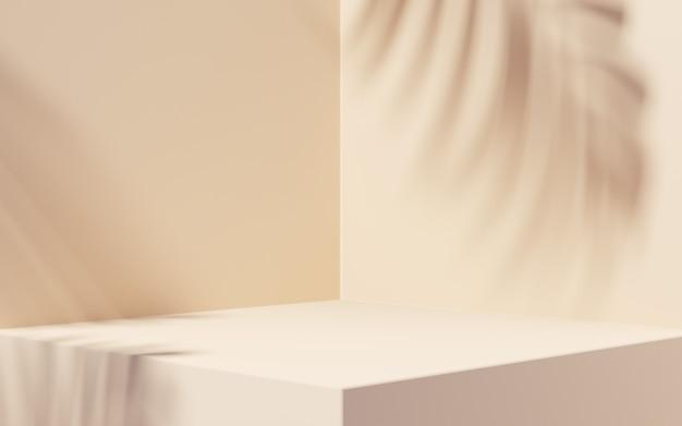 제품 프레젠테이션을 위한 베이지색 배경의 잎 그림자