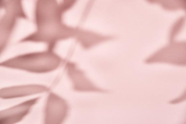 분홍색 배경에 잎 그림자입니다. 크리 에이 티브 추상적 인 배경입니다. 자연 그림자 패턴