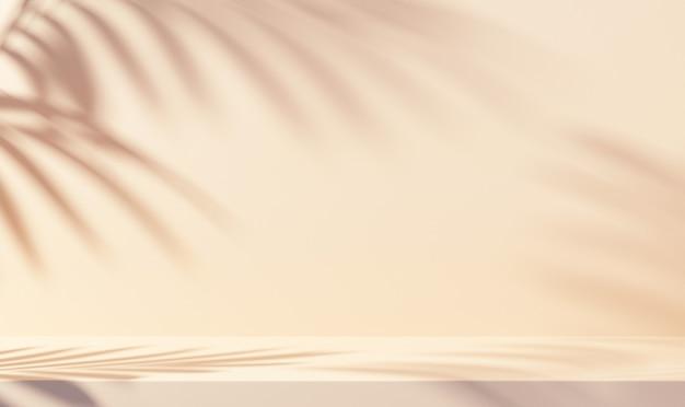 製品プレゼンテーションのための白い背景の葉の影
