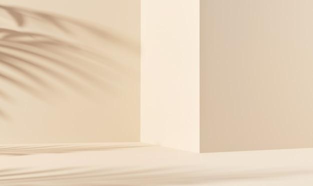 제품 프레젠테이션을 위한 노란색 배경의 잎 그림자