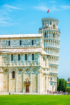 Leaning pisa tower in summer