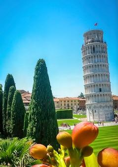 ピサの斜塔、花、ヒノキの木、ピサ、トスカーナ、イタリア。