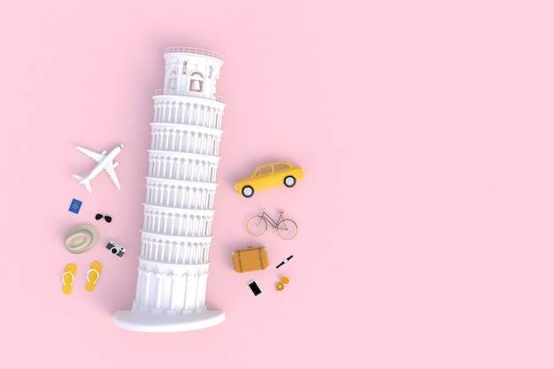 Leaning tower of pisa, italy, europe, italian architecture, top view of traveler's accessories abstract minimal pink, essential vacation items, travel concept, 3d rendering