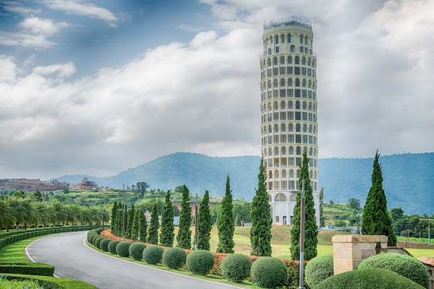 The leaning tower of pisa, the tower of pisa, thailand.