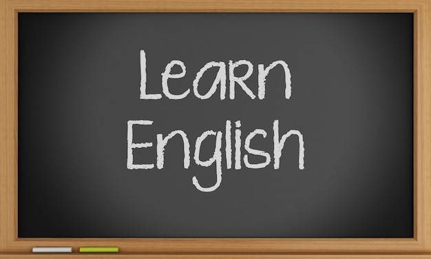 Learn english written on blackboard.
