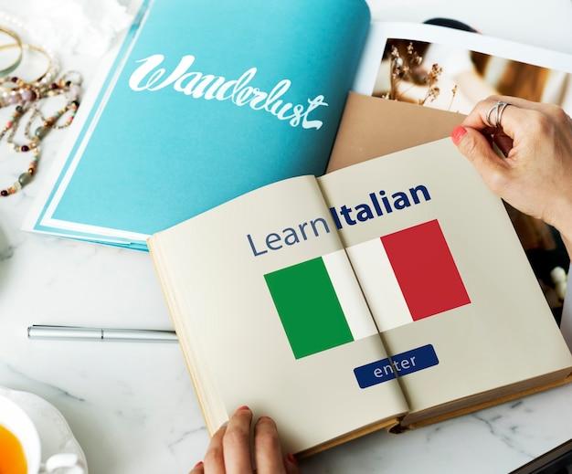 Learn italian language online education concept