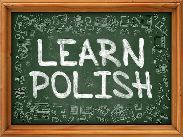 Learn polish concept. modern line style illustration. learn polish handwritten on green chalkboard with doodle icons around. doodle design style of learn polish concept.