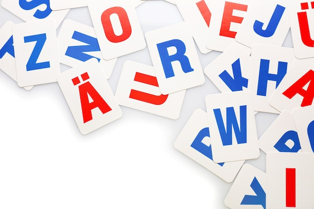 Learning alphabet letters on white