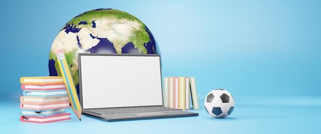 学習とオンライン教育。 3dイラストレーション