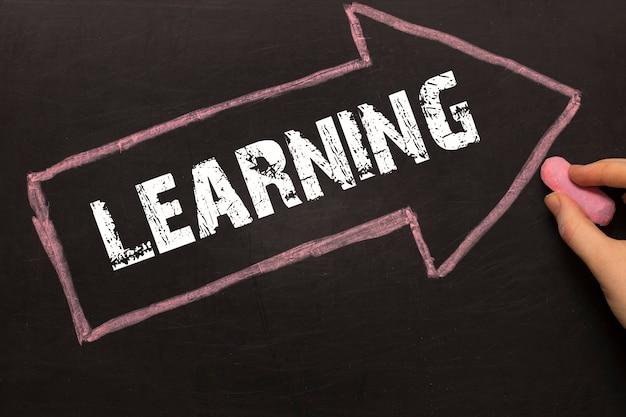 学習-黒い背景に矢印の付いた黒板