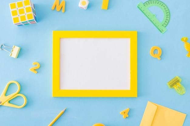 Learning equipment scattered around frame