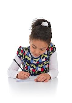 Learning girl isolated on white background