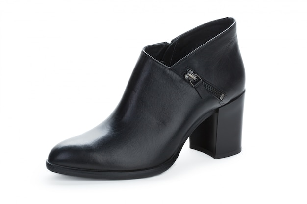 Leather ankle boots for women isolated