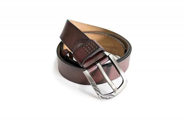 Leather belt isolated on white with clipping path.