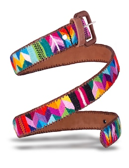 The leather belt made of colored fabric from ecuador coiled