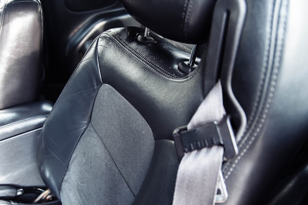 Leather black interior of a luxury car handmade leather upholstery