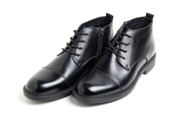 Leather black men's shoes