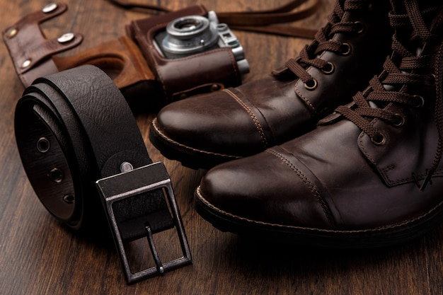 Leather boots and belt