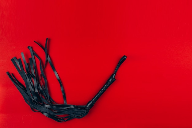 Leather braid on a red background,