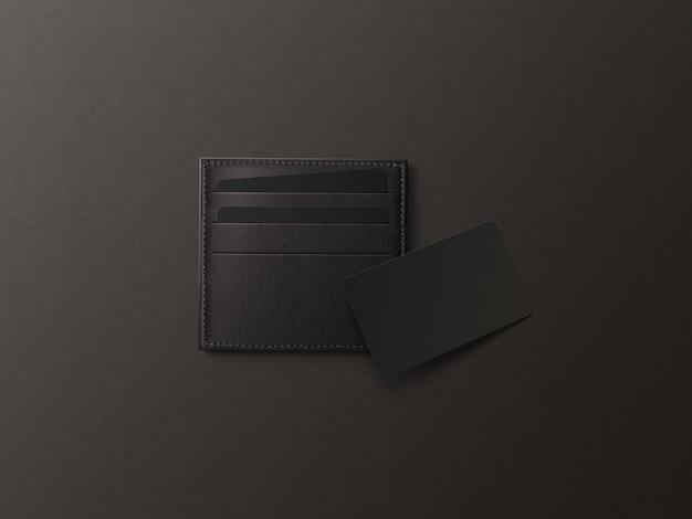 Кожаная визитница с макетом из черной бумаги