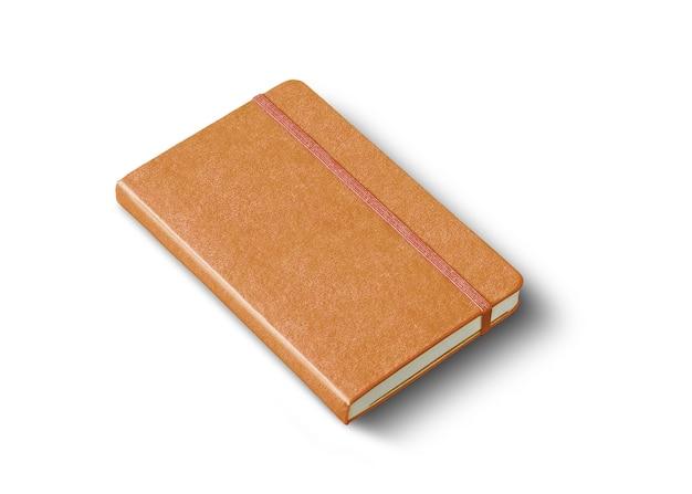 白で隔離の革の閉じたノートブックのモックアップ