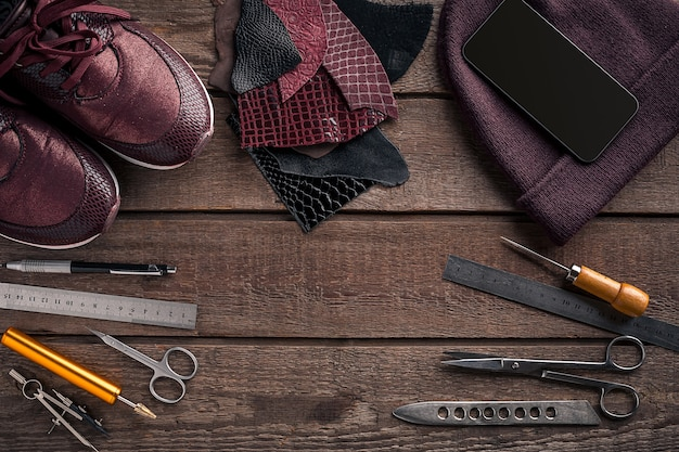 Leather crafting tools flat lay still life