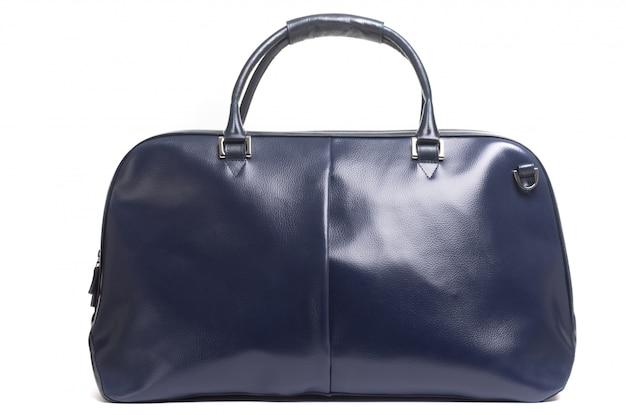흰색 배경에 손잡이에 가죽 여성 파란색 가방