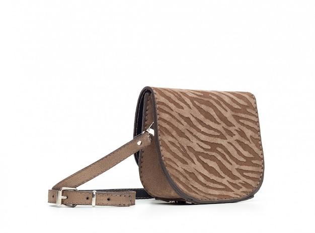 Leather female handbag isolated on white