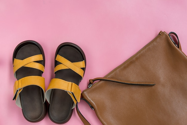 Leather handbag and yellow casual  shoes