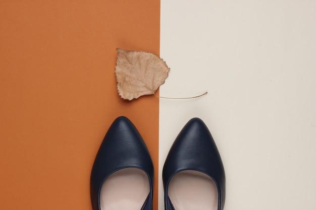 Кожаные туфли на каблуке с сухим осенним листом на цветной бумаге