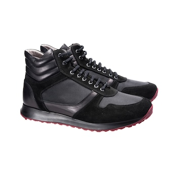 Leather high sneakers sports shoes, clothing accessories isolated on white surface