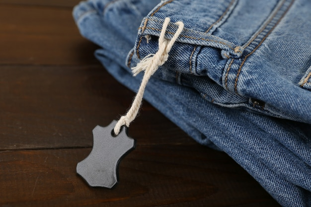 Leather jeans tag close up