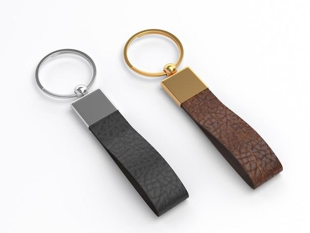 企業ブランディングのために分離された革のキーホルダー。 3dレンダリング