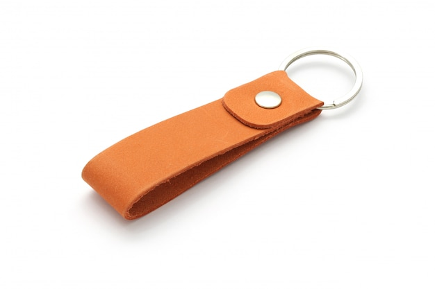 Leather key chain isolated on white