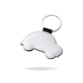Leather key ring in car shape on isolated white background.