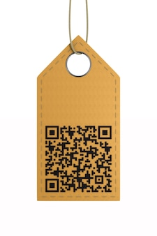 Leather label with qr code on white.