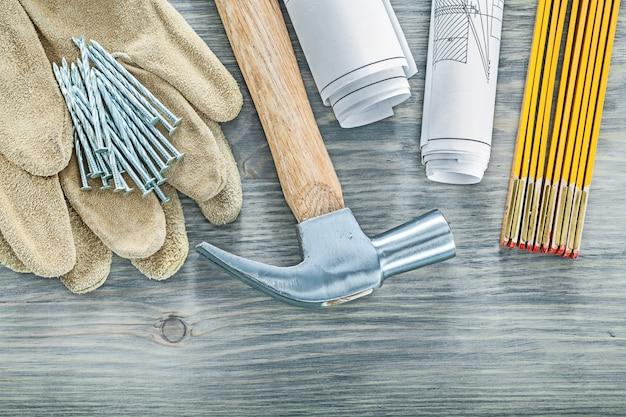 革安全手袋爪ハンマー釘設計図木造メーター建設コンセプト