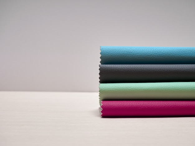 Leather samples in various colors.