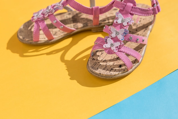 Leather sandals. shoes, kids summer fashion. children's slippers, beach fashion for baby,