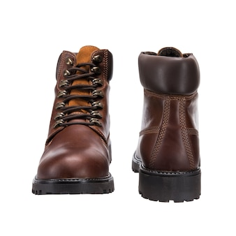 Leather shoes with laces for everyday wear, isolated clothing accessories on a white surface