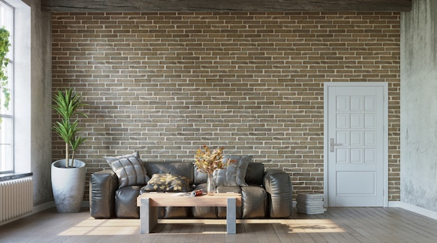 Leather sofa on brick wall living room with grungy walls in loft industrial style 3d render