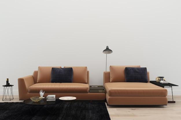 革ソファーリビングルーム黒敷き現代の3dレンダリングの背景のテンプレート